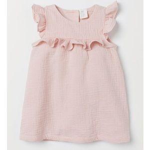 H&M pink double-weave ruffle dress